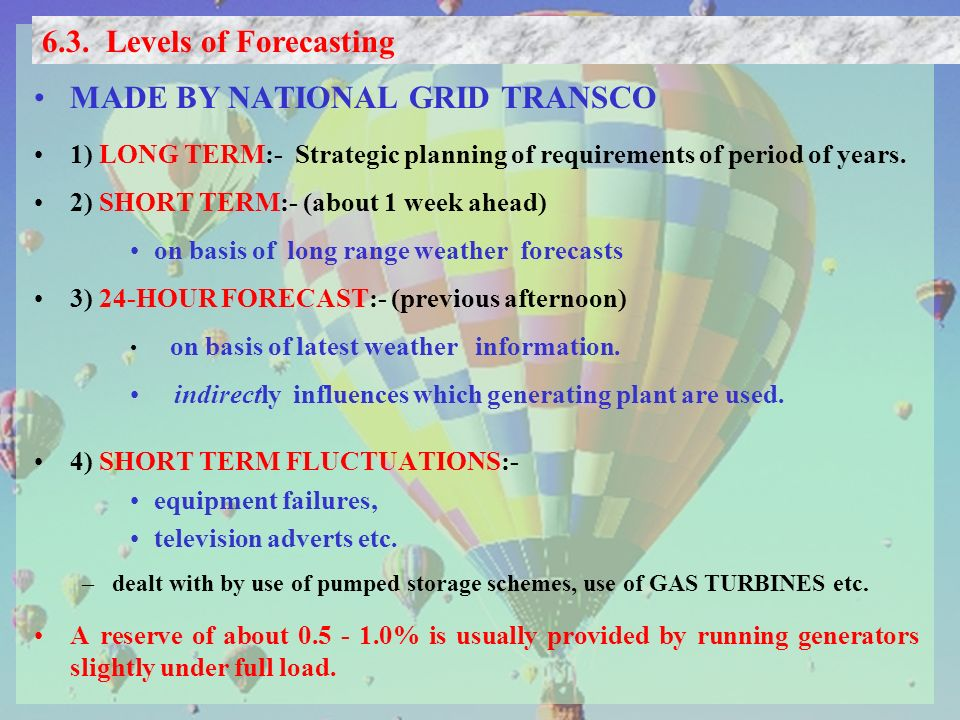 MADE BY NATIONAL GRID TRANSCO 1) LONG TERM:- Strategic planning of requirements of period of years.