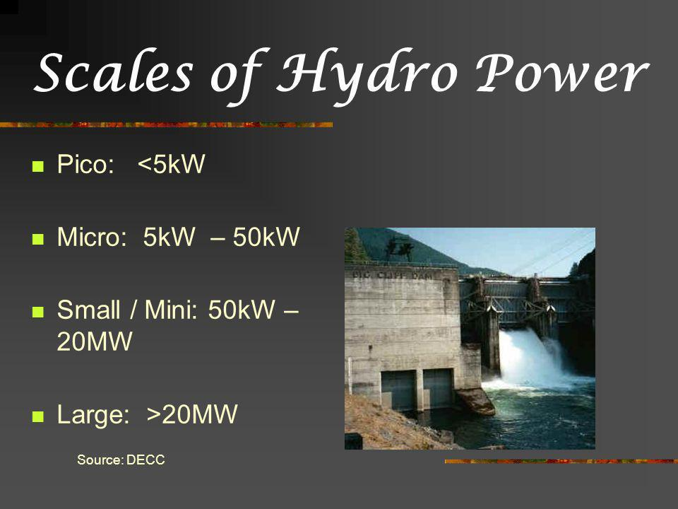 Scales of Hydro Power Pico: <5kW Micro: 5kW – 50kW Small / Mini: 50kW – 20MW Large: >20MW Source: DECC