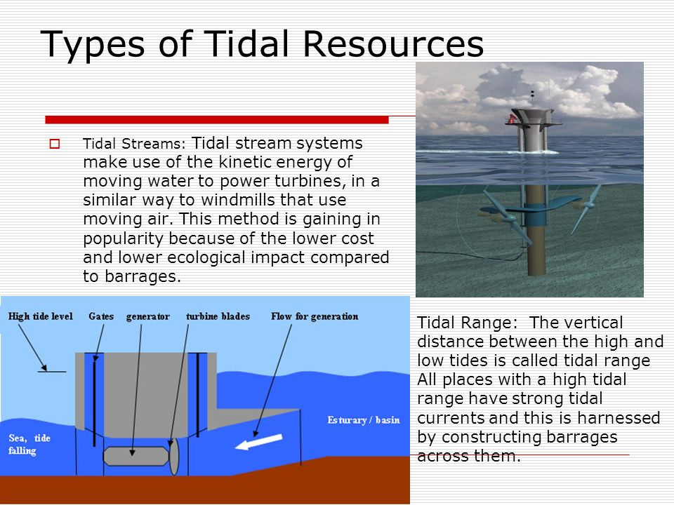 Types of Tidal Resources Tidal Streams: Tidal stream systems make use of the kinetic energy of moving water to power turbines, in a similar way to windmills that use moving air.