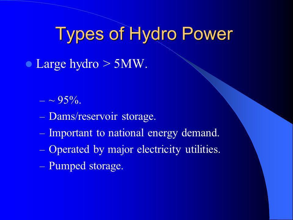 Types of Hydro Power Large hydro > 5MW. – ~ 95%. – Dams/reservoir storage.