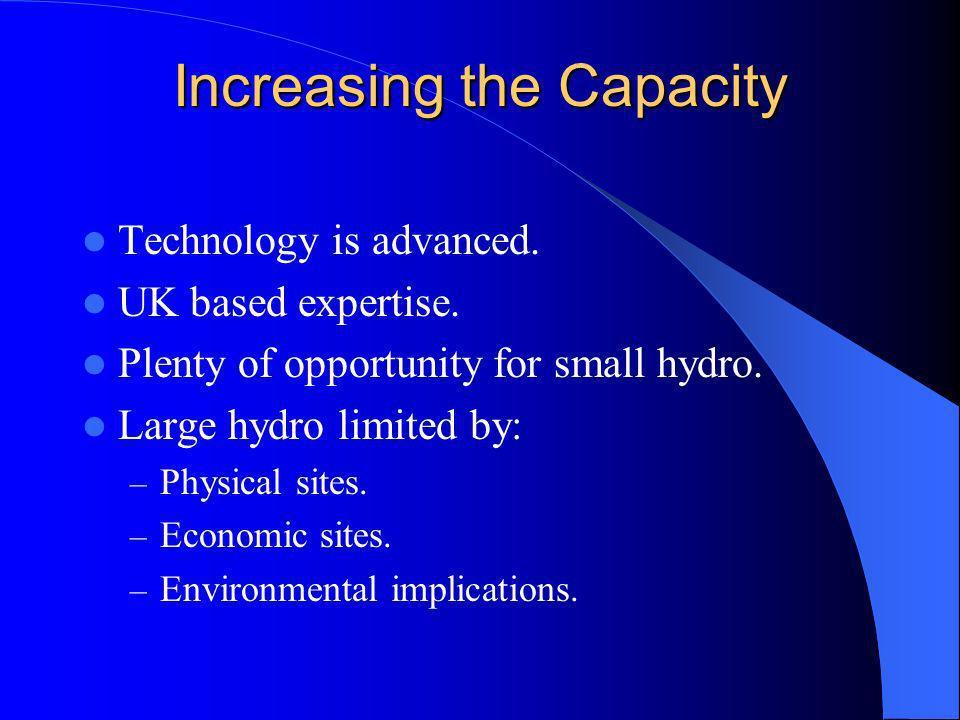 Increasing the Capacity Technology is advanced. UK based expertise.