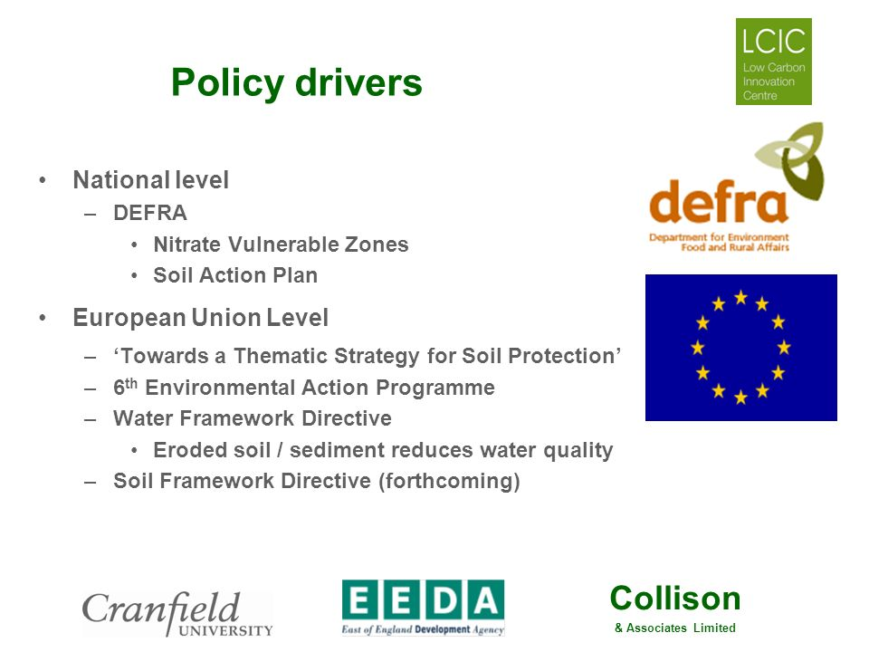 Collison & Associates Limited Policy drivers National level –DEFRA Nitrate Vulnerable Zones Soil Action Plan European Union Level –Towards a Thematic