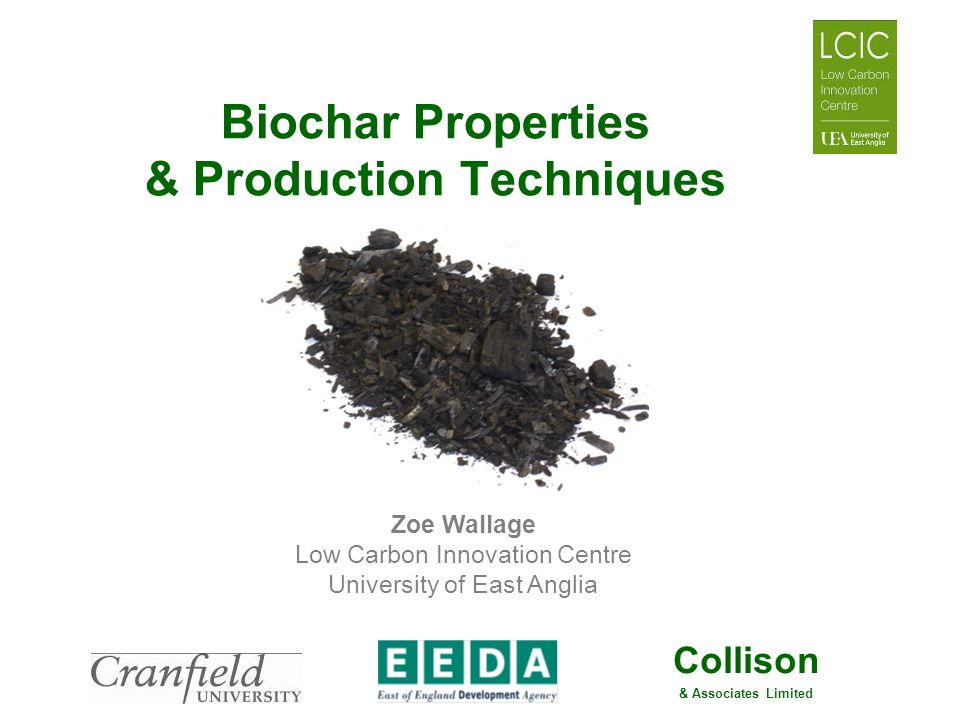 Collison & Associates Limited Biochar Properties & Production Techniques Zoe Wallage Low Carbon Innovation Centre University of East Anglia
