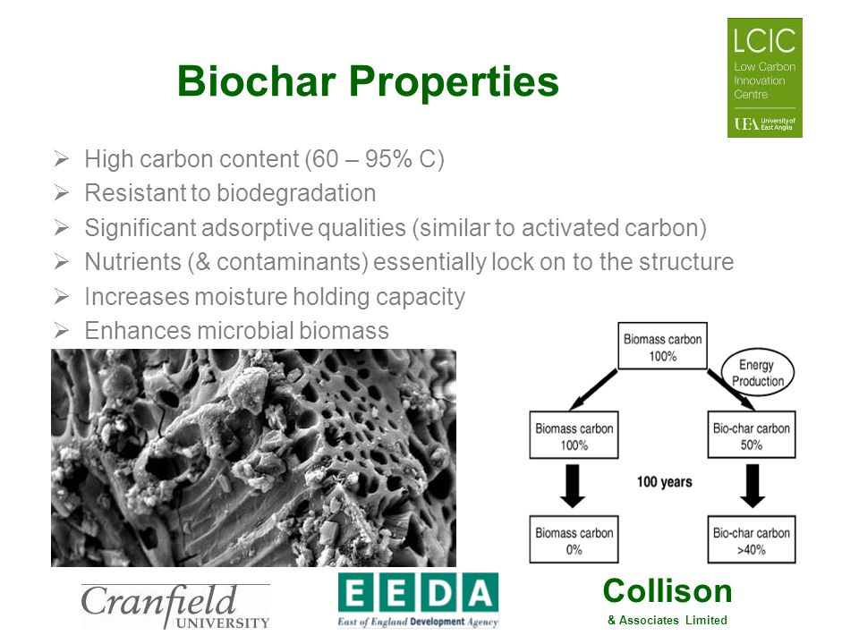 Collison & Associates Limited Biochar Properties High carbon content (60 – 95% C) Resistant to biodegradation Significant adsorptive qualities (simila