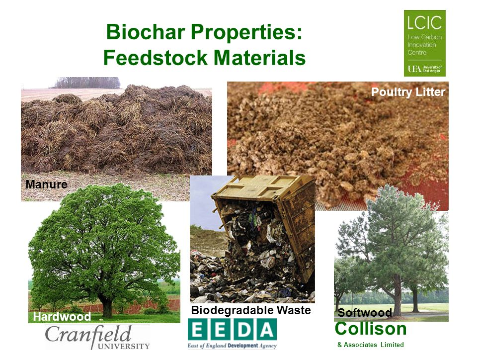 Collison & Associates Limited Biochar Properties: Feedstock Materials Manure Poultry Litter Hardwood Softwood Biodegradable Waste