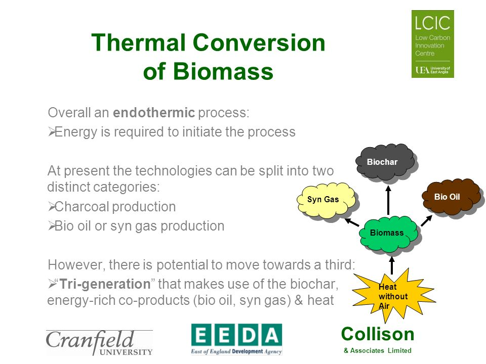 Collison & Associates Limited Thermal Conversion of Biomass Overall an endothermic process: Energy is required to initiate the process At present the
