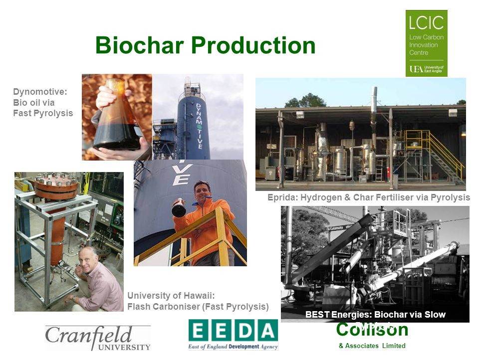 Collison & Associates Limited Biochar Production Eprida: Hydrogen & Char Fertiliser via Pyrolysis Dynomotive: Bio oil via Fast Pyrolysis BEST Energies