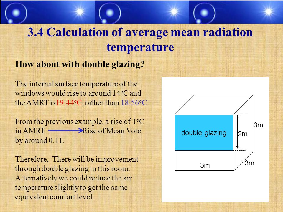 3.4 Calculation of average mean radiation temperature double glazing 3m 2m How about with double glazing? The internal surface temperature of the wind