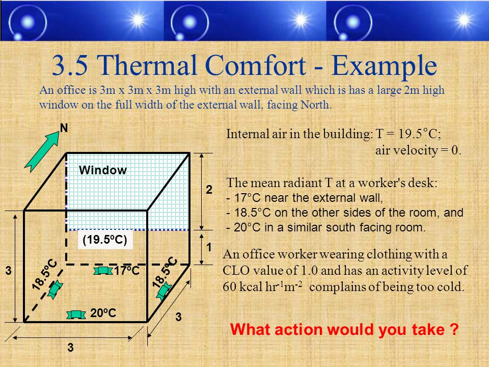 3.5 Thermal Comfort - Example An office is 3m x 3m x 3m high with an external wall which is has a large 2m high window on the full width of the extern