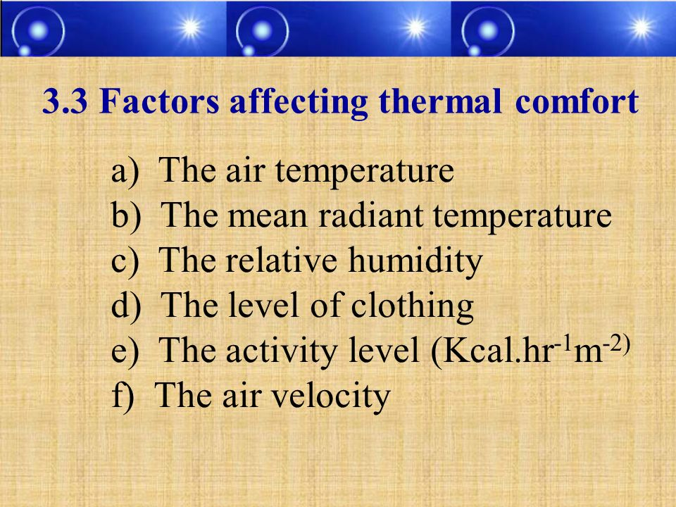 3.3 Factors affecting thermal comfort a) The air temperature b) The mean radiant temperature c) The relative humidity d) The level of clothing e) The