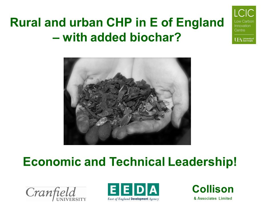 Collison & Associates Limited Rural and urban CHP in E of England – with added biochar? Economic and Technical Leadership!