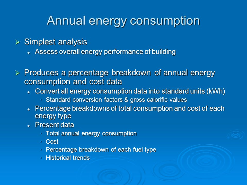 Annual energy consumption Simplest analysis Simplest analysis Assess overall energy performance of building Assess overall energy performance of build