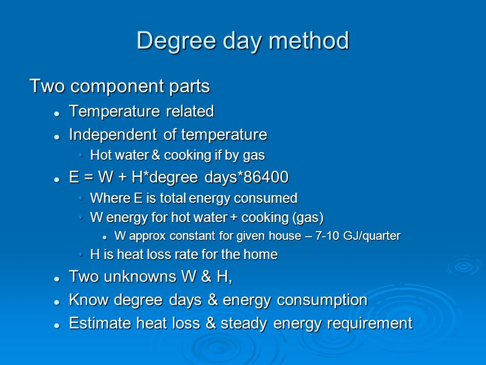 Degree day method Two component parts Temperature related Temperature related Independent of temperature Independent of temperature Hot water & cookin