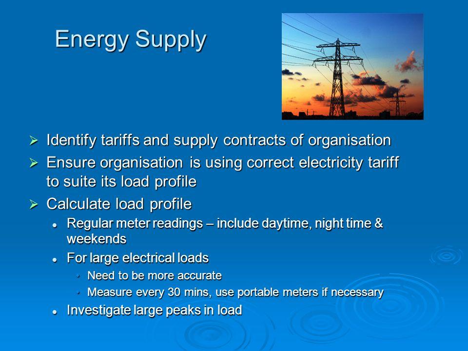 Energy Supply Identify tariffs and supply contracts of organisation Identify tariffs and supply contracts of organisation Ensure organisation is using