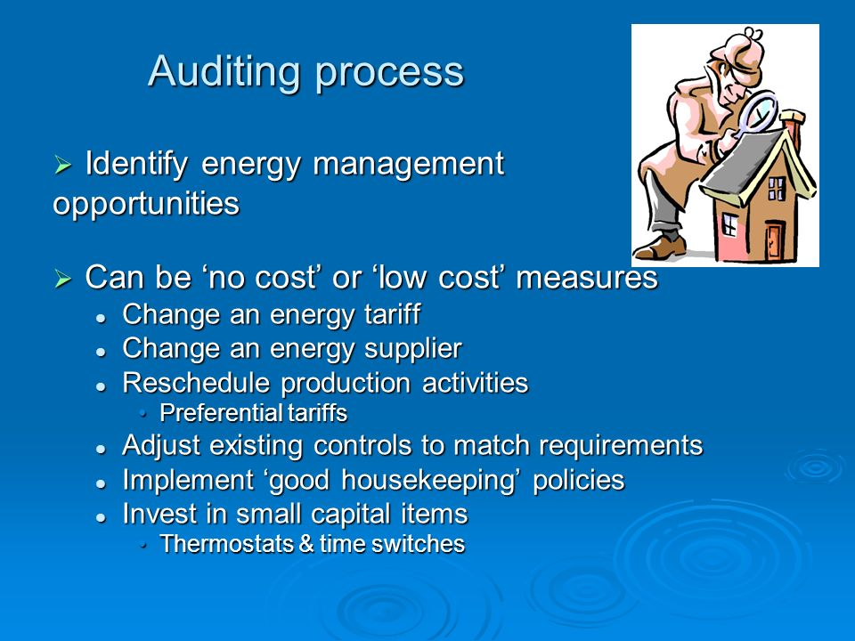 Who does energy audits.