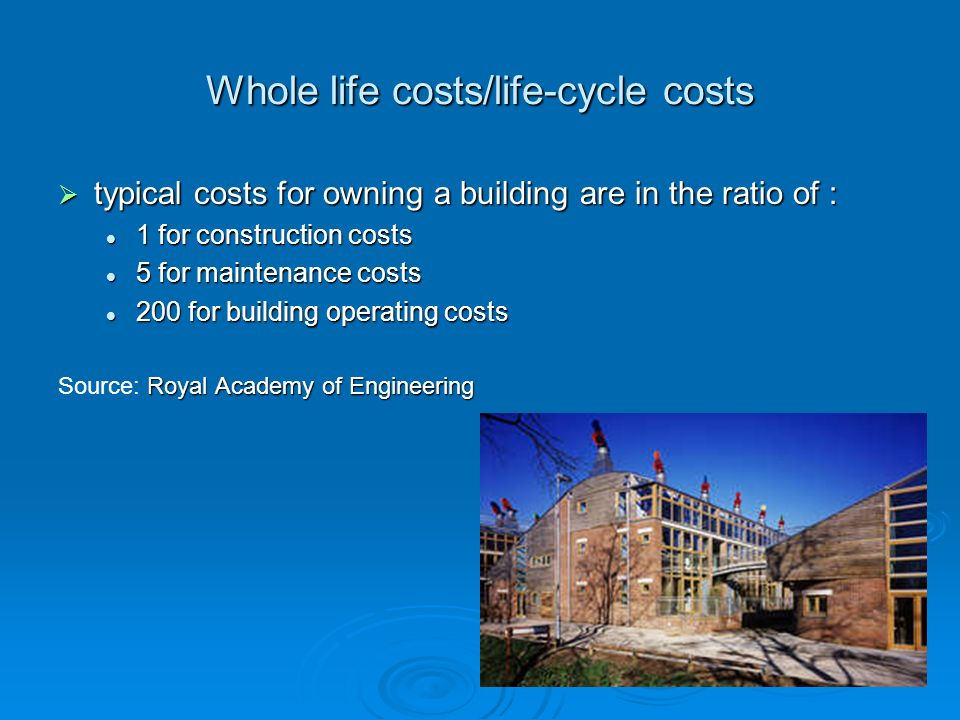 Life cycle cost (LCC) LCC = Capital Cost LCC = Capital Cost + Present worth of Maintenance and Energy Cost + Present worth of Maintenance and Energy Cost - Present worth of Salvage value Capital cost Capital cost initial capital expense for equipment initial capital expense for equipment the system design, engineering, and installation.