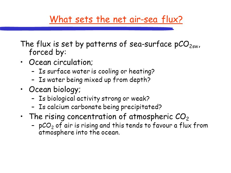 What sets the net air-sea flux? The flux is set by patterns of sea-surface pCO 2sw, forced by: Ocean circulation; –Is surface water is cooling or heat
