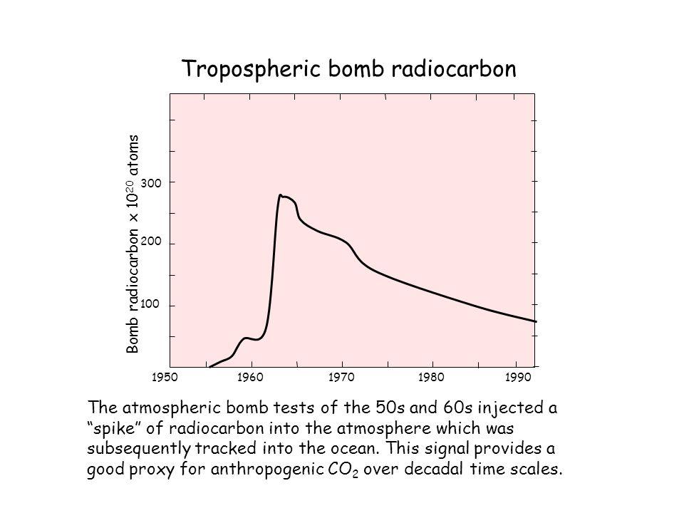 1960197019501980 300 200 100 Bomb radiocarbon x 10 20 atoms 1990 Tropospheric bomb radiocarbon The atmospheric bomb tests of the 50s and 60s injected