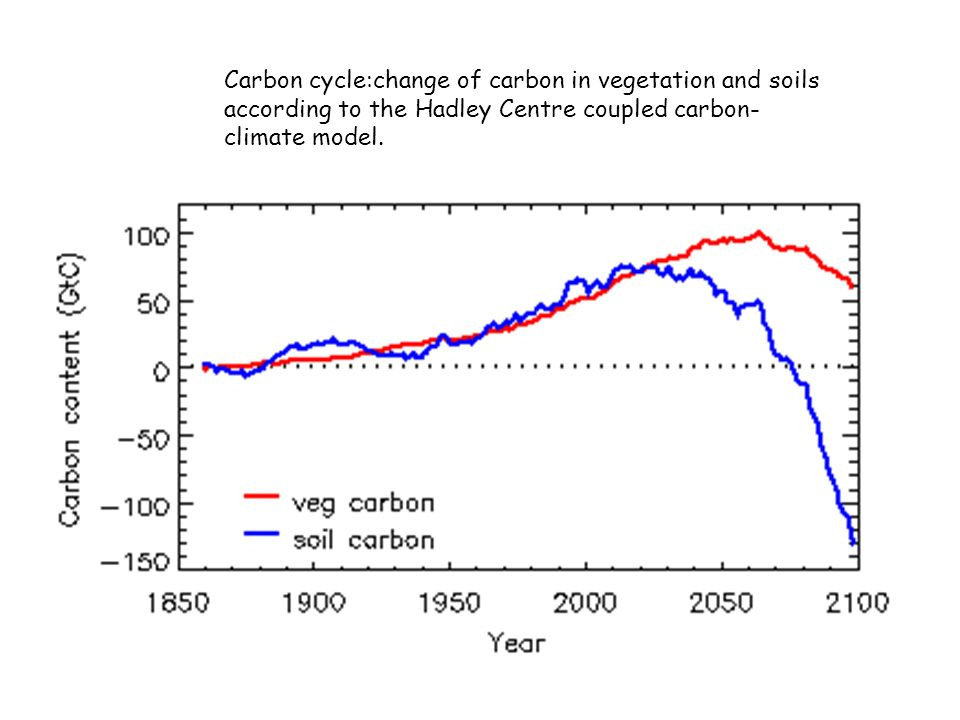 Carbon cycle:change of carbon in vegetation and soils according to the Hadley Centre coupled carbon- climate model.