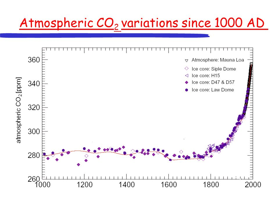 Atmospheric CO 2 variations since 1000 AD