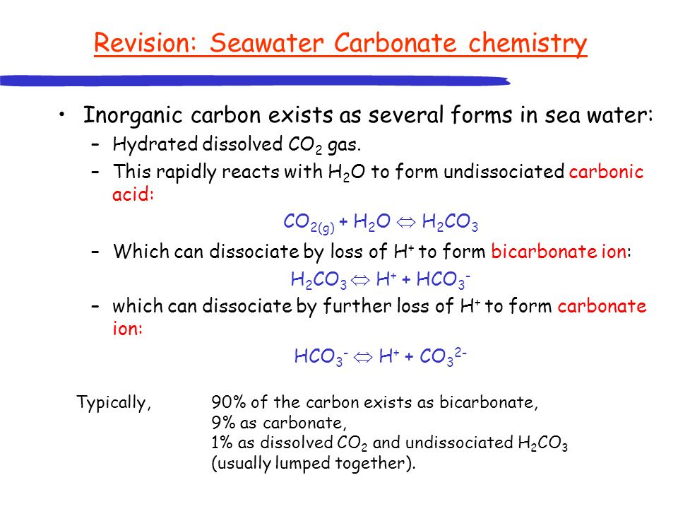 Revision: Seawater Carbonate chemistry Inorganic carbon exists as several forms in sea water: –Hydrated dissolved CO 2 gas. –This rapidly reacts with