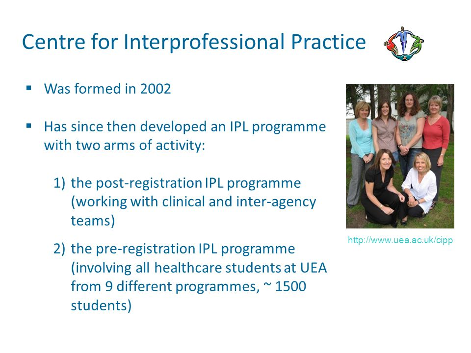 Was formed in 2002 Has since then developed an IPL programme with two arms of activity: 1)the post-registration IPL programme (working with clinical a