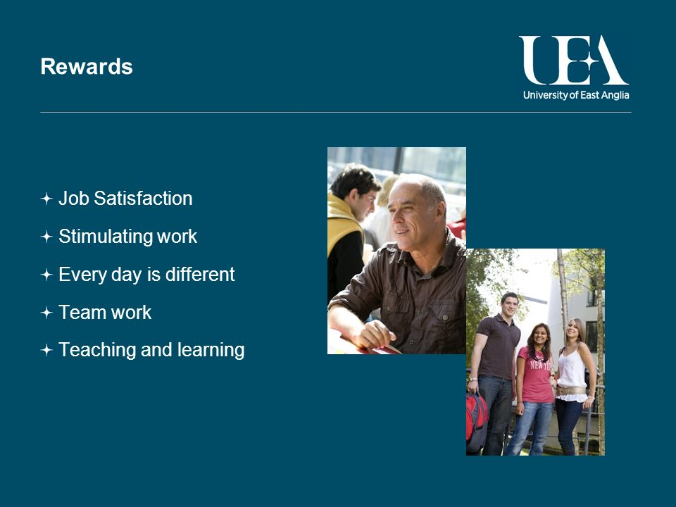Rewards Job Satisfaction Stimulating work Every day is different Team work Teaching and learning