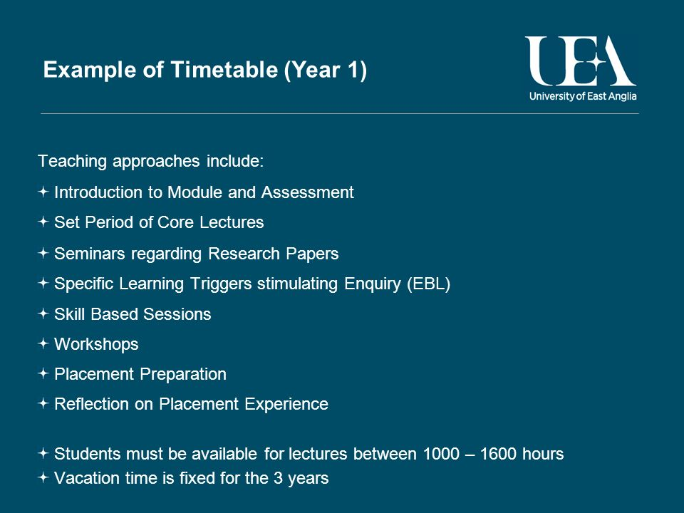 Example of Timetable (Year 1) Teaching approaches include: Introduction to Module and Assessment Set Period of Core Lectures Seminars regarding Resear
