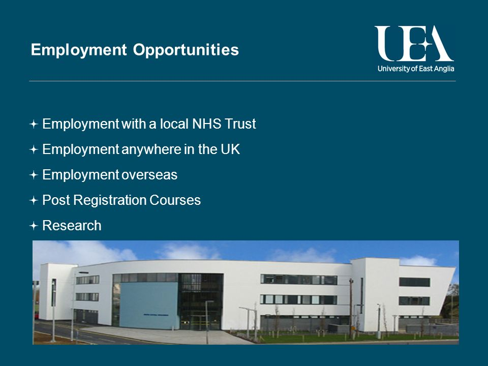 Employment Opportunities Employment with a local NHS Trust Employment anywhere in the UK Employment overseas Post Registration Courses Research