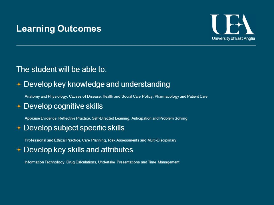 Learning Outcomes The student will be able to: Develop key knowledge and understanding Anatomy and Physiology, Causes of Disease, Health and Social Care Policy, Pharmacology and Patient Care Develop cognitive skills Appraise Evidence, Reflective Practice, Self-Directed Learning, Anticipation and Problem Solving Develop subject specific skills Professional and Ethical Practice, Care Planning, Risk Assessments and Multi-Disciplinary Develop key skills and attributes Information Technology, Drug Calculations, Undertake Presentations and Time Management