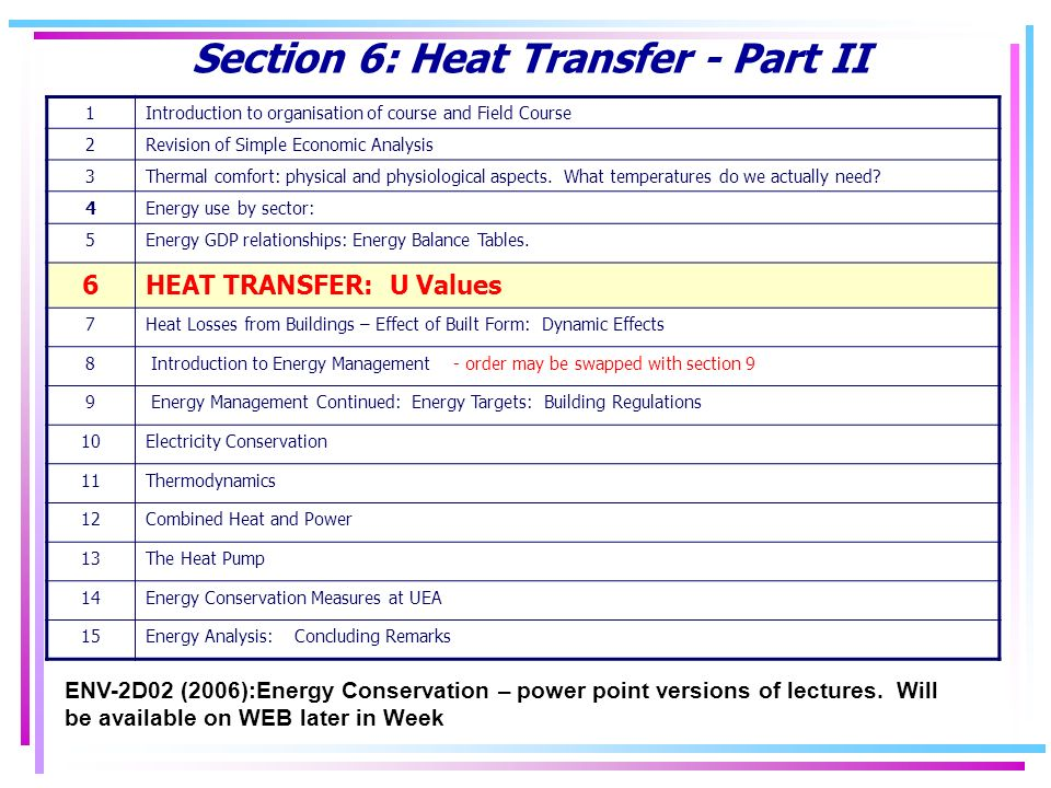 Section 6: Heat Transfer - Part II ENV-2D02 (2006):Energy Conservation – power point versions of lectures.