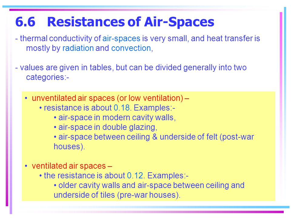 6.6 Resistances of Air-Spaces - thermal conductivity of air-spaces is very small, and heat transfer is mostly by radiation and convection, - values are given in tables, but can be divided generally into two categories:- unventilated air spaces (or low ventilation) – resistance is about 0.18.