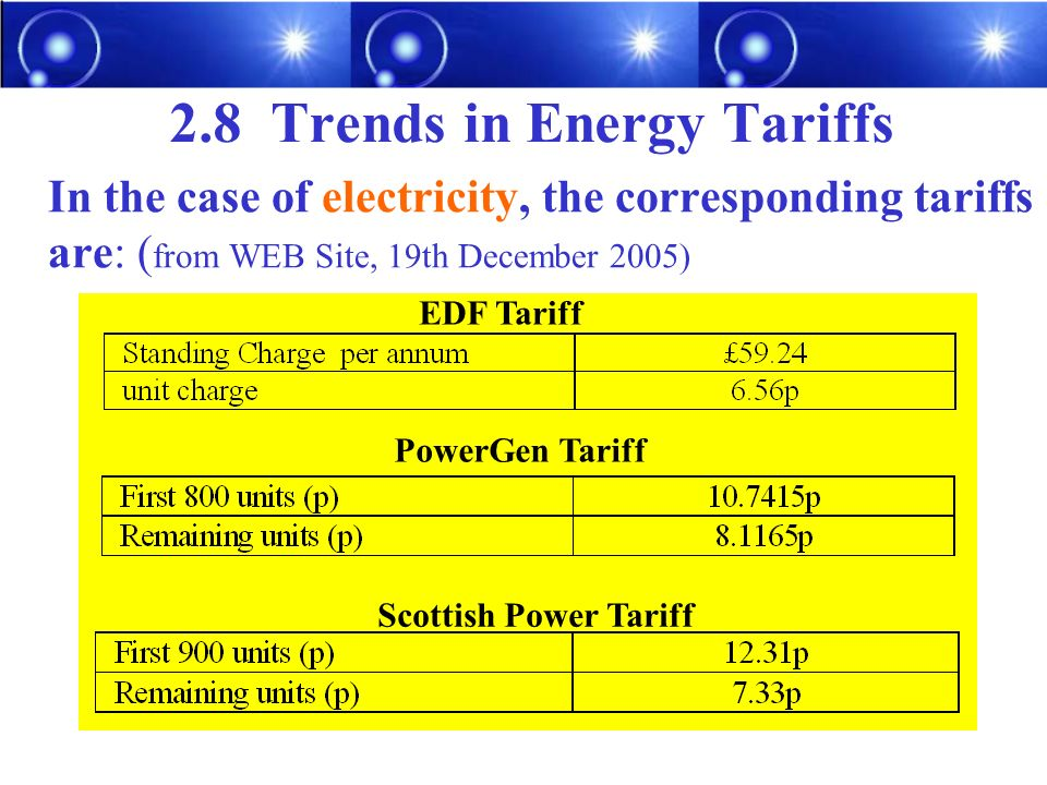 2.8 Trends in Energy Tariffs In the case of electricity, the corresponding tariffs are: ( from WEB Site, 19th December 2005) EDF Tariff PowerGen Tariff Scottish Power Tariff