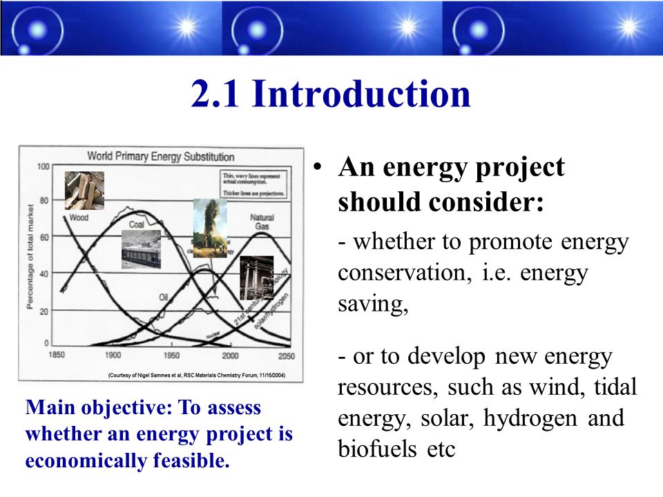 2.1 Introduction An energy project should consider: - whether to promote energy conservation, i.e.