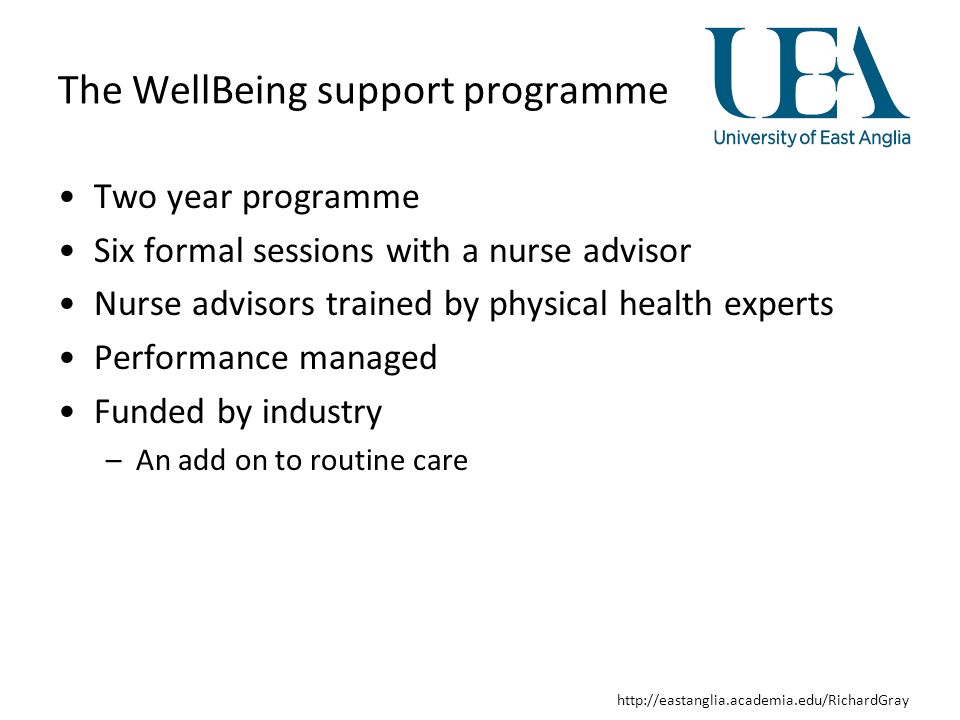 http://eastanglia.academia.edu/RichardGray Wellbeing support Step 1: Generating a register of SMI patients and inviting them to participate in the WSP Step 2: First face-to-face Well-Being Session where physical health (blood pressure, pulse, weight and height) lifestyle factors (diet, physical activity, smoking status) and antipsychotic side effects (LUNSERS; Day et al 1995) were measured Step 3: Results of measures taken in session 1 were fed back to patients at a second face-to-face session.