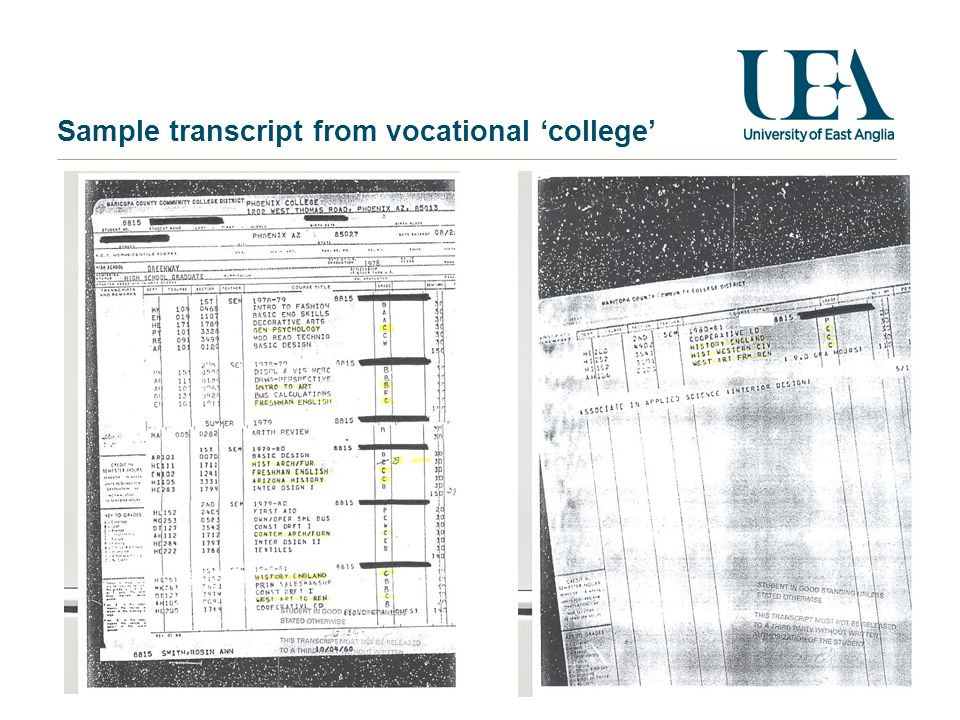 Sample transcript from vocational college