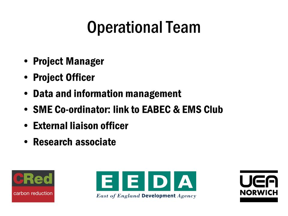 Operational Team Project Manager Project Officer Data and information management SME Co-ordinator: link to EABEC & EMS Club External liaison officer Research associate