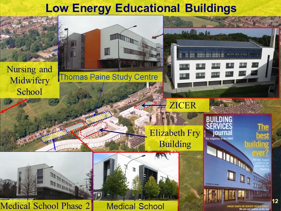 12 Low Energy Educational Buildings Elizabeth Fry Building ZICER Nursing and Midwifery School Medical School 12 Medical School Phase 2 Thomas Paine Study Centre