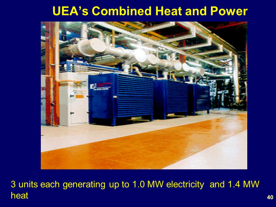 UEAs Combined Heat and Power 3 units each generating up to 1.0 MW electricity and 1.4 MW heat 40