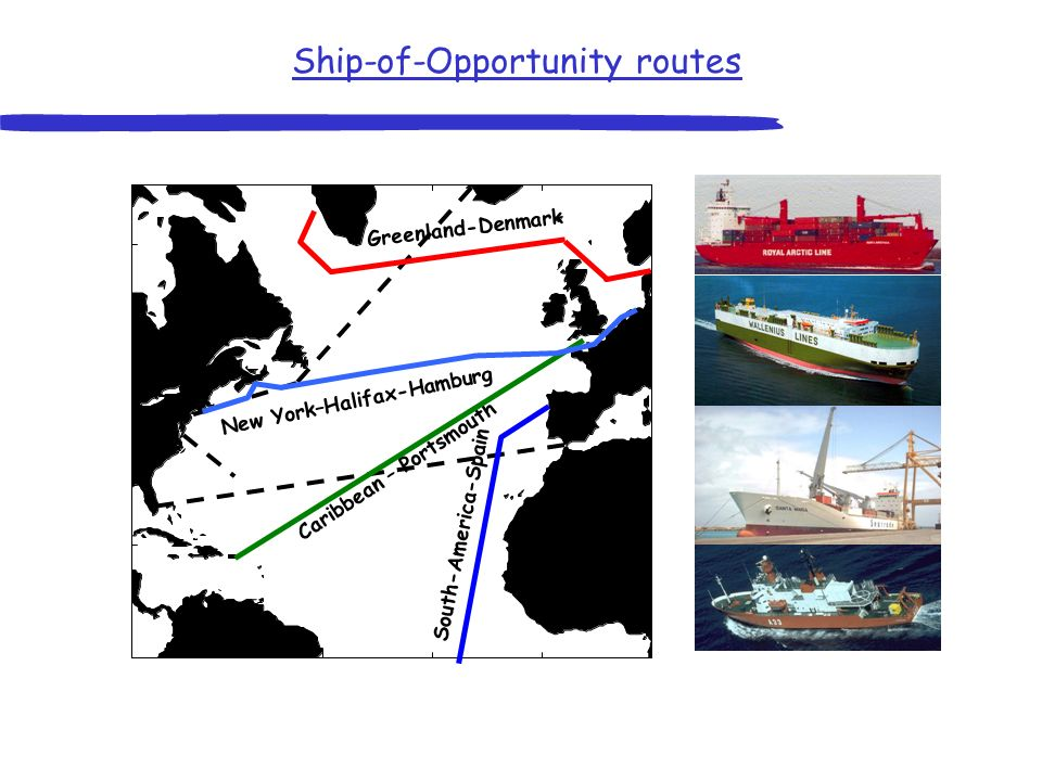 North Atlantic Carbon Observing System Cruise tracks CAVASSOO 2001 – 2003 EU project Ship-of-Opportunity routes