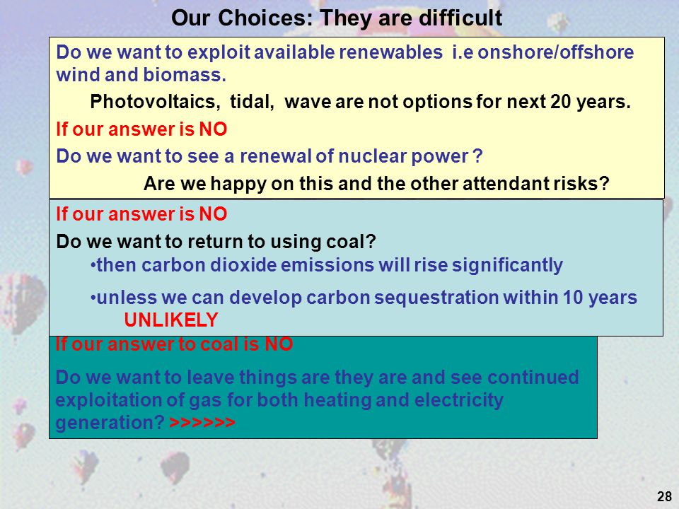 28 Do we want to exploit available renewables i.e onshore/offshore wind and biomass.