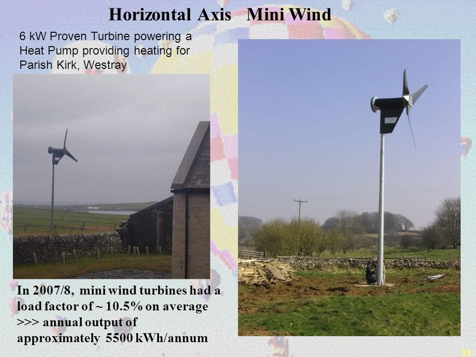38 6 kW Proven Turbine powering a Heat Pump providing heating for Parish Kirk, Westray Horizontal Axis Mini Wind In 2007/8, mini wind turbines had a load factor of ~ 10.5% on average >>> annual output of approximately 5500 kWh/annum