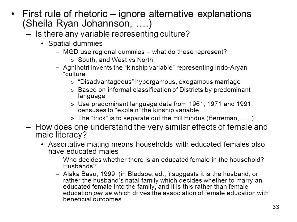 33 First rule of rhetoric – ignore alternative explanations (Sheila Ryan Johannson, ….) –Is there any variable representing culture.