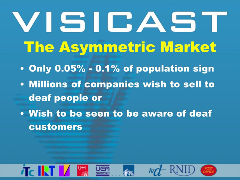 The Asymmetric Market Only 0.05% - 0.1% of population sign Millions of companies wish to sell to deaf people or Wish to be seen to be aware of deaf customers