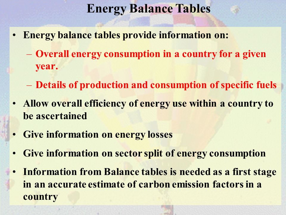 Energy balance tables provide information on: –Overall energy consumption in a country for a given year.
