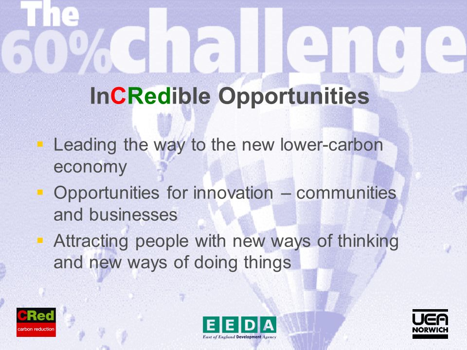 InCRedible Opportunities Leading the way to the new lower-carbon economy Opportunities for innovation – communities and businesses Attracting people with new ways of thinking and new ways of doing things