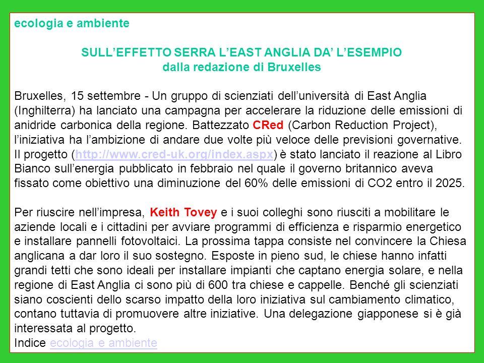 ecologia e ambiente SULLEFFETTO SERRA LEAST ANGLIA DA LESEMPIO dalla redazione di Bruxelles Bruxelles, 15 settembre - Un gruppo di scienziati delluniversità di East Anglia (Inghilterra) ha lanciato una campagna per accelerare la riduzione delle emissioni di anidride carbonica della regione.