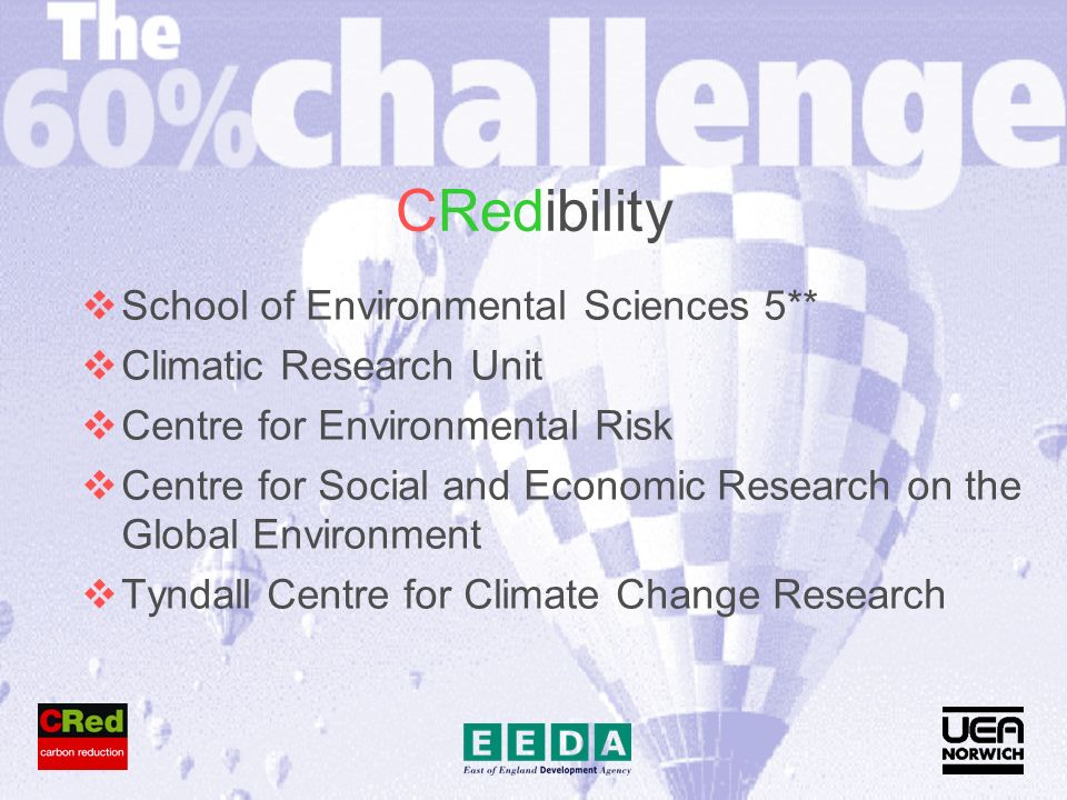CRedibility School of Environmental Sciences 5** Climatic Research Unit Centre for Environmental Risk Centre for Social and Economic Research on the Global Environment Tyndall Centre for Climate Change Research