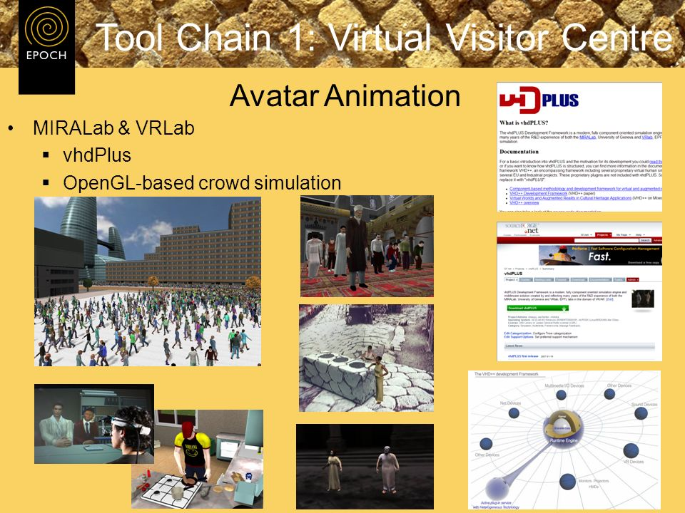 MIRALab & VRLab vhdPlus OpenGL-based crowd simulation Tool Chain 1: Virtual Visitor Centre Avatar Animation
