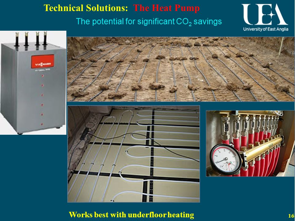 16 Technical Solutions: The Heat Pump Works best with underfloor heating The potential for significant CO 2 savings